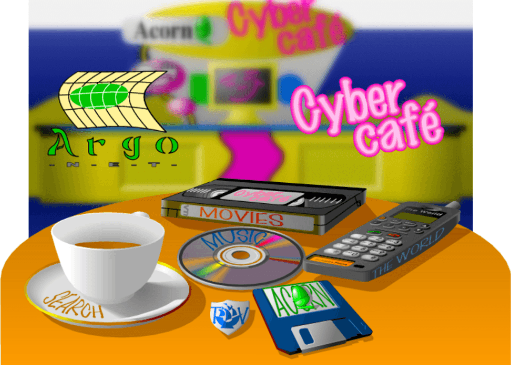 A drawing of a table at the Cyber Cafe, with a coffee cup, CD, floppy disk, mobile phone and a VHS tape (plus Blue Peter badge)
