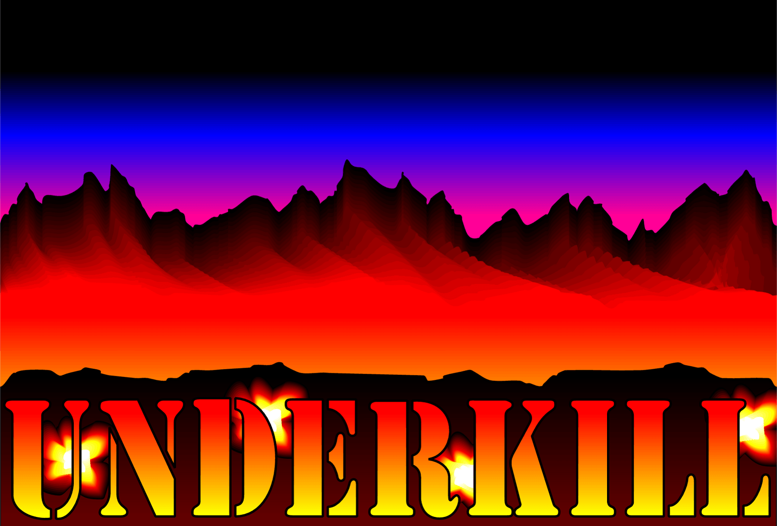 Underkill title graphic - a mountain range with firey lettering underneath