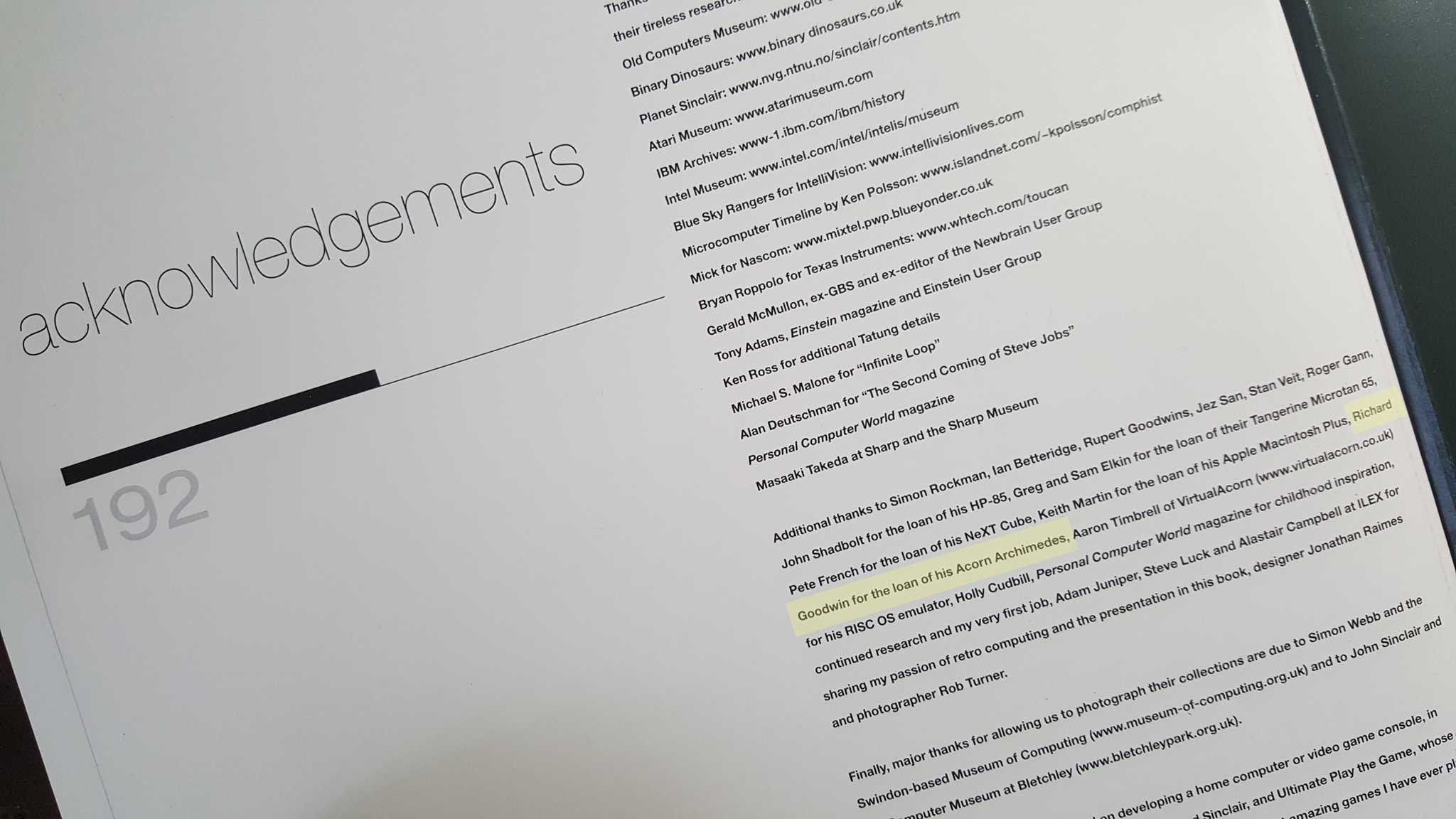 The acknowledgements page - I'm mentioned in it!