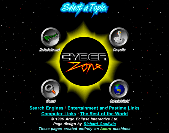 Cyberzone screenshot - a dark sun in space, with very pointy text and metal coasters with icons for the various sections of the site in them.