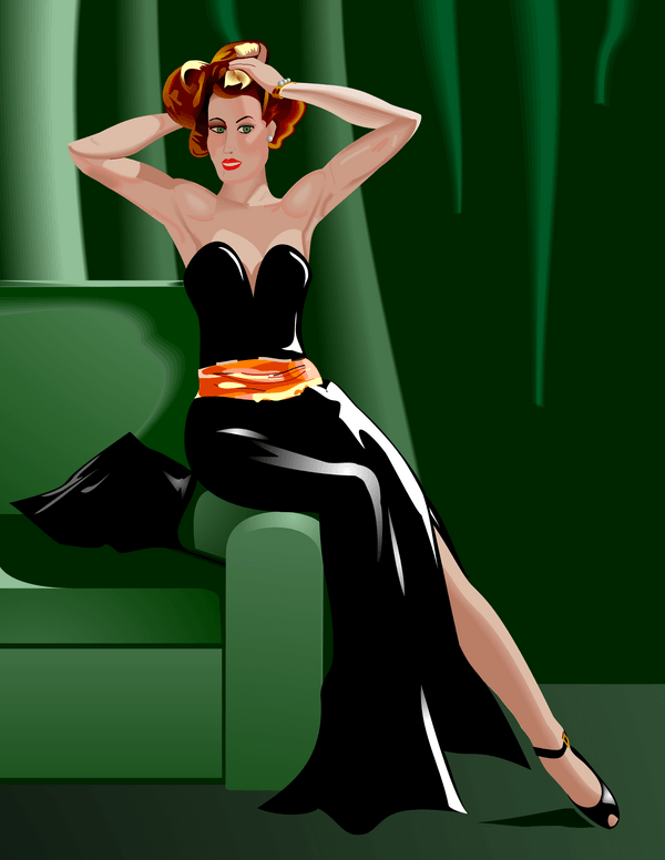 Lady in a cocktail dress sitting on the side of a sofa.