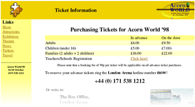 The ticket page