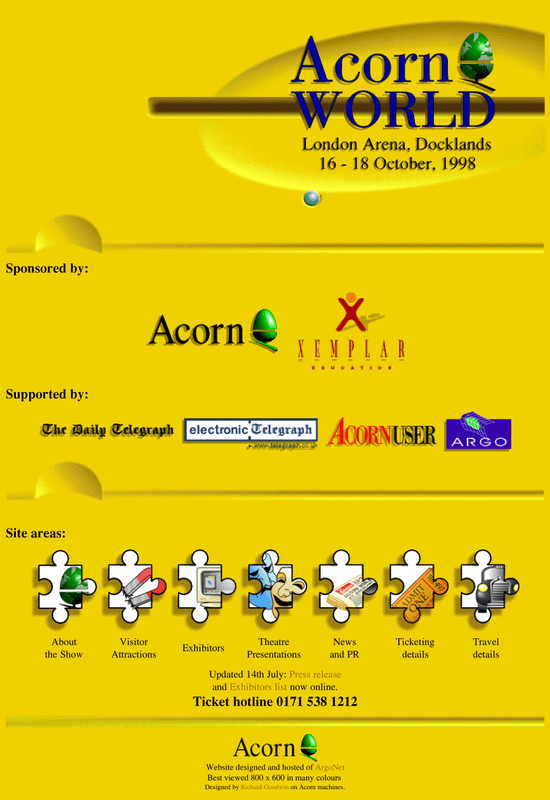 Acorn World 1998 website.  It looks like the front of a computer, with logos in each