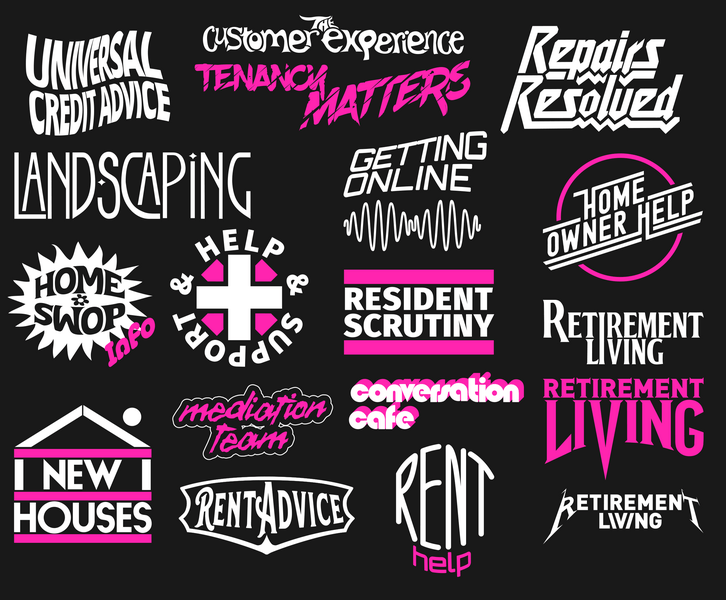 Various areas of the business rendered as band logos e.g. Help and Support is a bit Red Hot Chilli Peppers, Landscaping is a bit Led Zepplin etc.