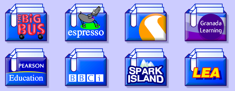 A bunch of custom directory icons that have the logos of various educational software companies on them