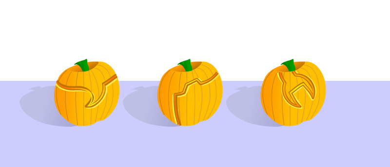 A version of the front page where the standard navigation has been replaced by pumpkins with the icons carved in to them