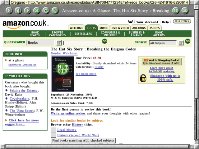 "Amazon in the year 2000 - ""The Hut Six Story: Breaking the Enigma Code"""
