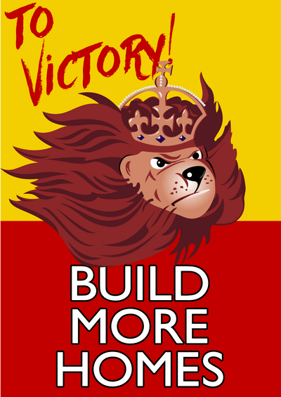 Build More Homes lion