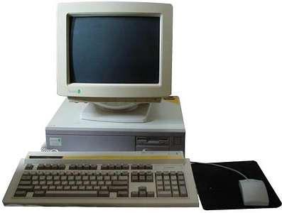 An A5000 - a square, squat box with a monitor on top, and a keyboard and mouse attached.